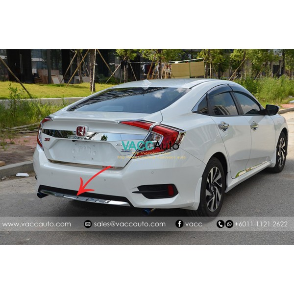 Civic (10th Gen) Rear Bumper Chrome Lining (Type A...